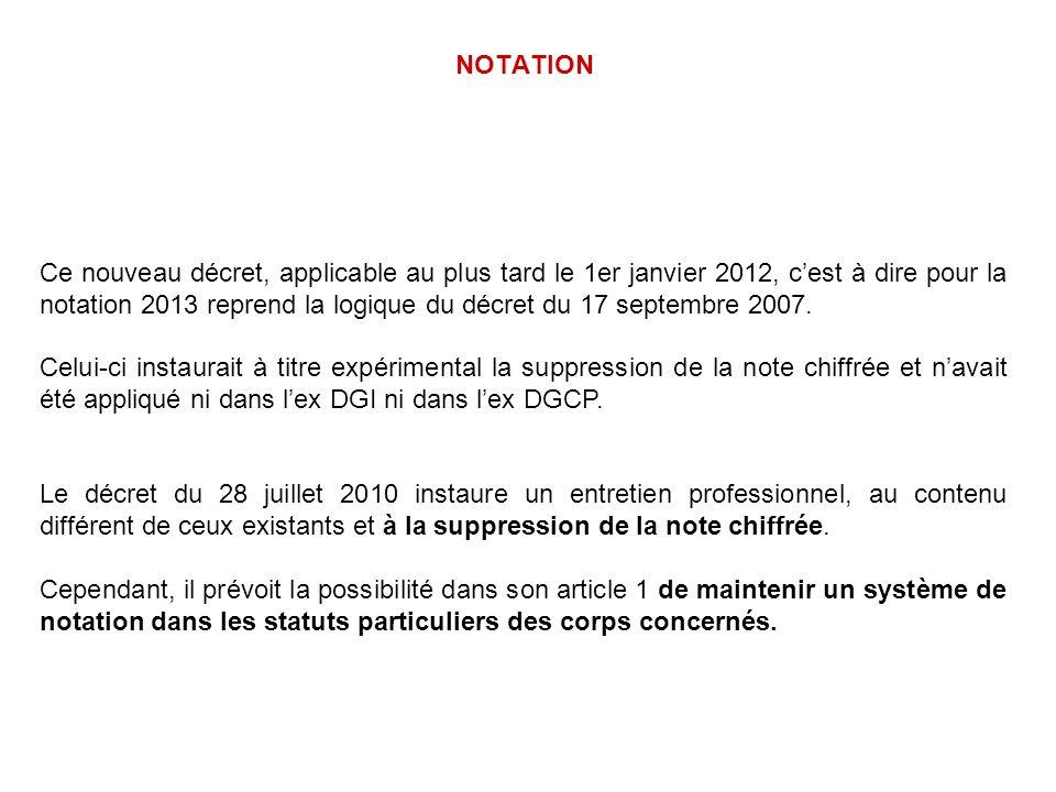 NOTATION Ce nouveau décret, applicable au plus tard le 1er janvier 2012, cest à dire pour la notation 2013 reprend la logique du décret du 17 septembr