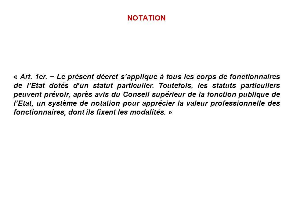 NOTATION « Art. 1er. Le présent décret sapplique à tous les corps de fonctionnaires de lEtat dotés dun statut particulier. Toutefois, les statuts part