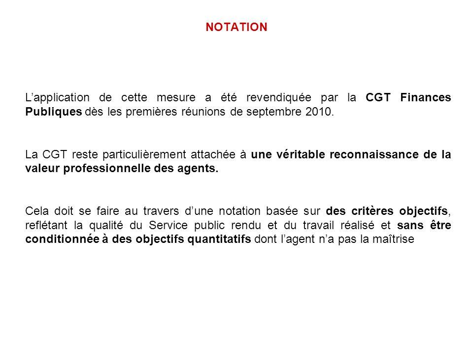 NOTATION Lapplication de cette mesure a été revendiquée par la CGT Finances Publiques dès les premières réunions de septembre 2010. La CGT reste parti