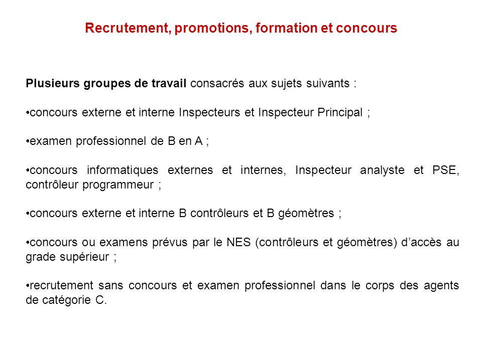 Recrutement, promotions, formation et concours Plusieurs groupes de travail consacrés aux sujets suivants : concours externe et interne Inspecteurs et