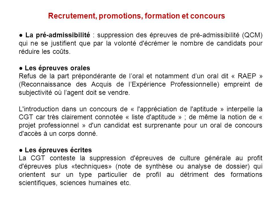 Recrutement, promotions, formation et concours La pré-admissibilité : suppression des épreuves de pré-admissibilité (QCM) qui ne se justifient que par
