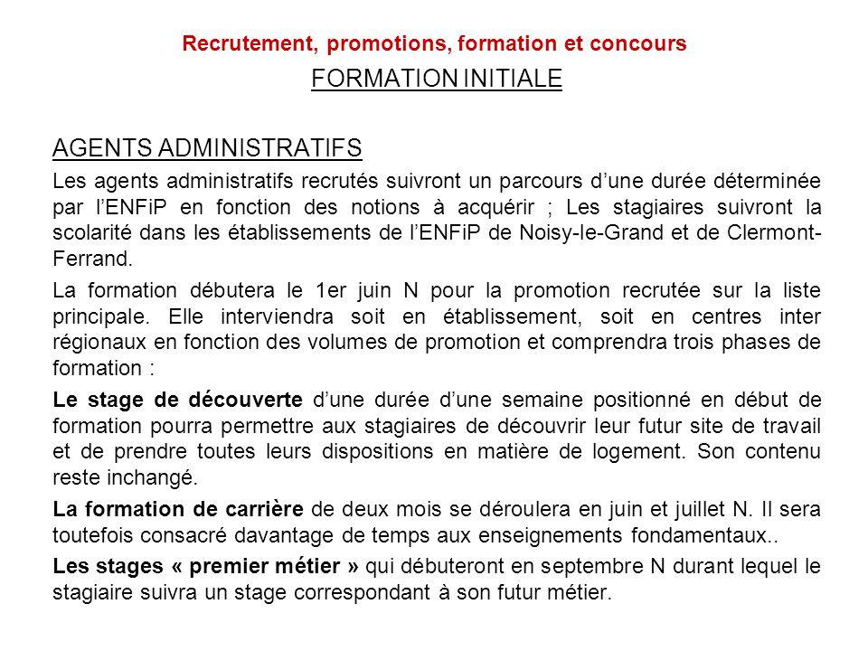 Recrutement, promotions, formation et concours FORMATION INITIALE AGENTS ADMINISTRATIFS Les agents administratifs recrutés suivront un parcours dune d