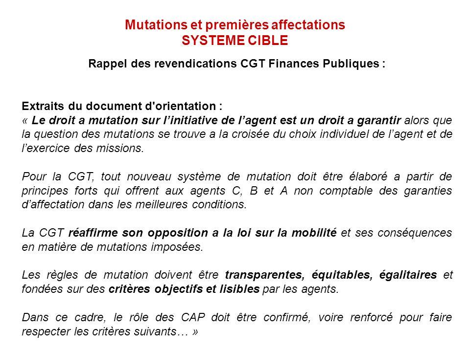 Mutations et premières affectations SYSTEME CIBLE Rappel des revendications CGT Finances Publiques : Extraits du document d'orientation : « Le droit a