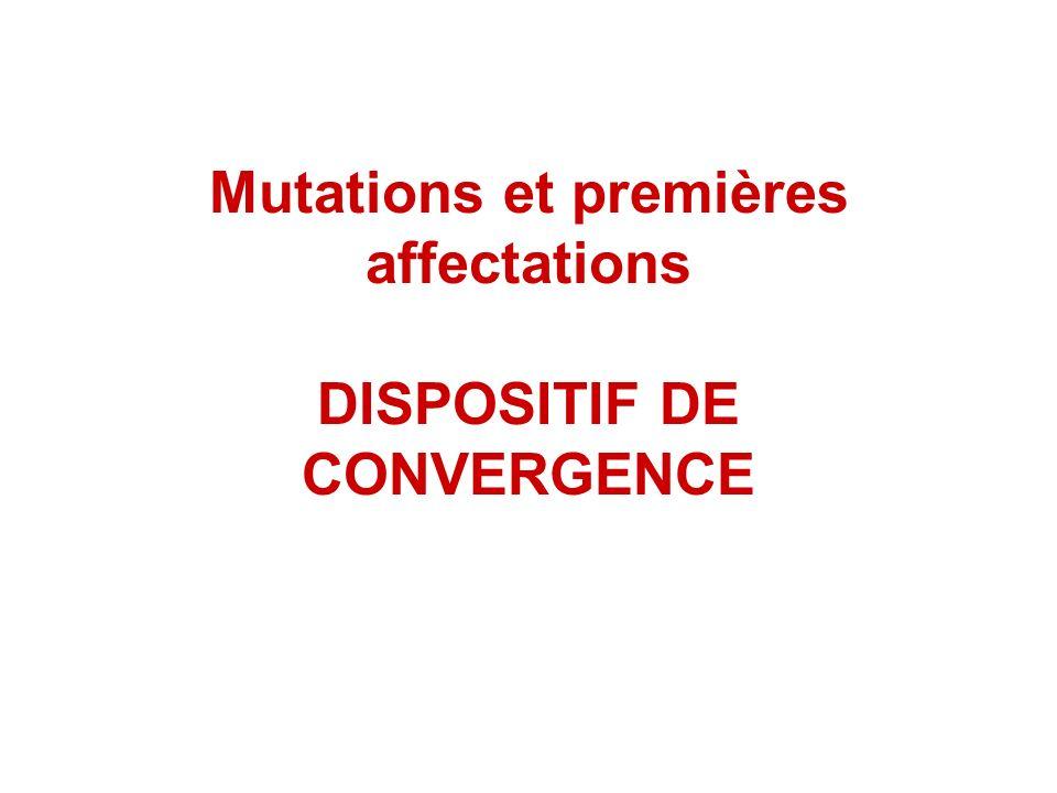 Mutations et premières affectations DISPOSITIF DE CONVERGENCE