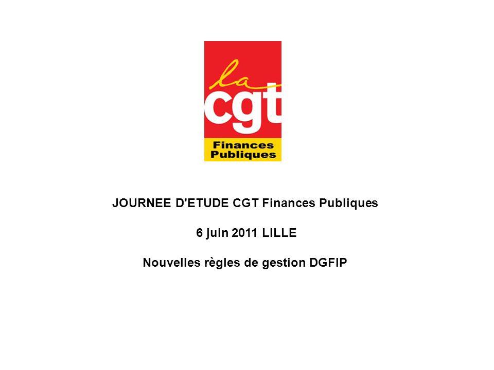 JOURNEE D'ETUDE CGT Finances Publiques 6 juin 2011 LILLE Nouvelles règles de gestion DGFIP