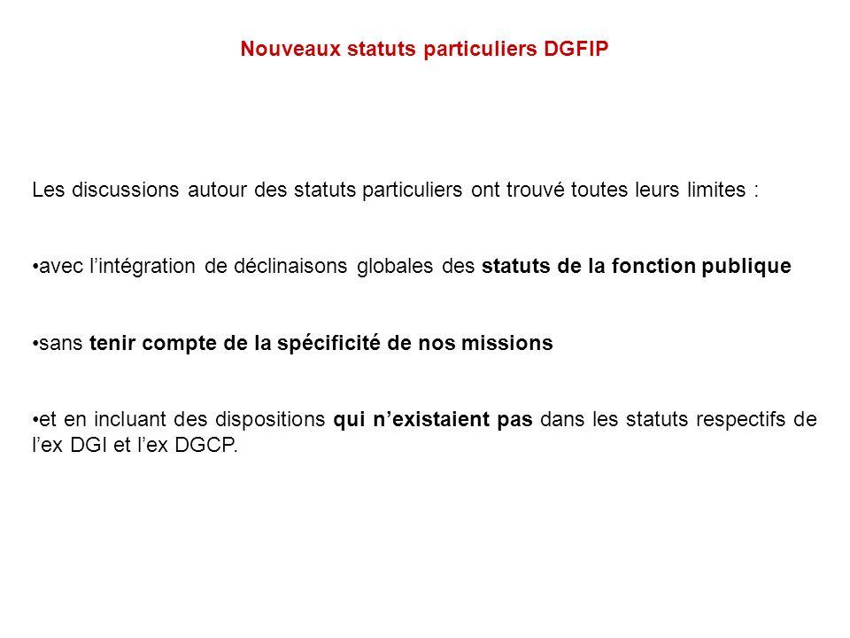 Nouveaux statuts particuliers DGFIP Les discussions autour des statuts particuliers ont trouvé toutes leurs limites : avec lintégration de déclinaison