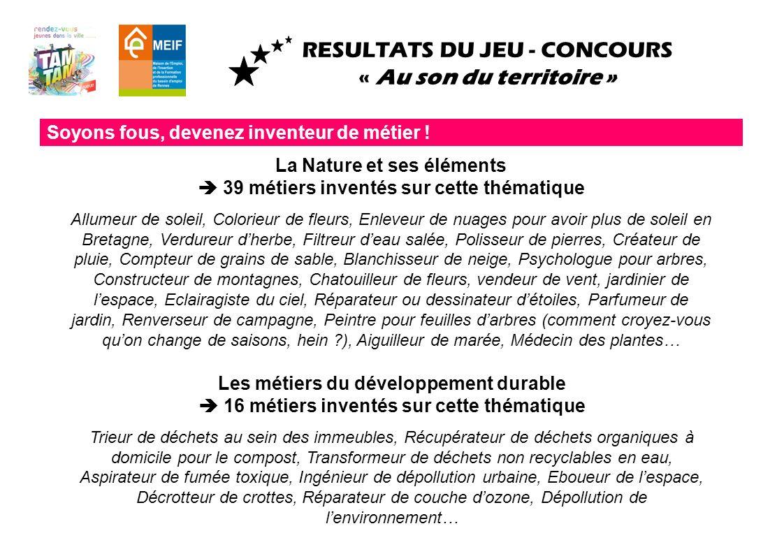 RESULTATS DU JEU - CONCOURS « Au son du territoire » Soyons fous, devenez inventeur de métier ! La Nature et ses éléments 39 métiers inventés sur cett