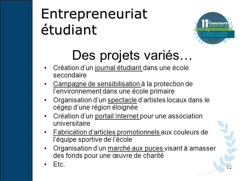 12 Des projets variés… Création dun journal étudiant dans une école secondaire Campagne de sensibilisation à la protection de lenvironnement dans une