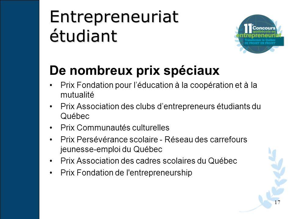 17 De nombreux prix spéciaux Prix Fondation pour léducation à la coopération et à la mutualité Prix Association des clubs dentrepreneurs étudiants du