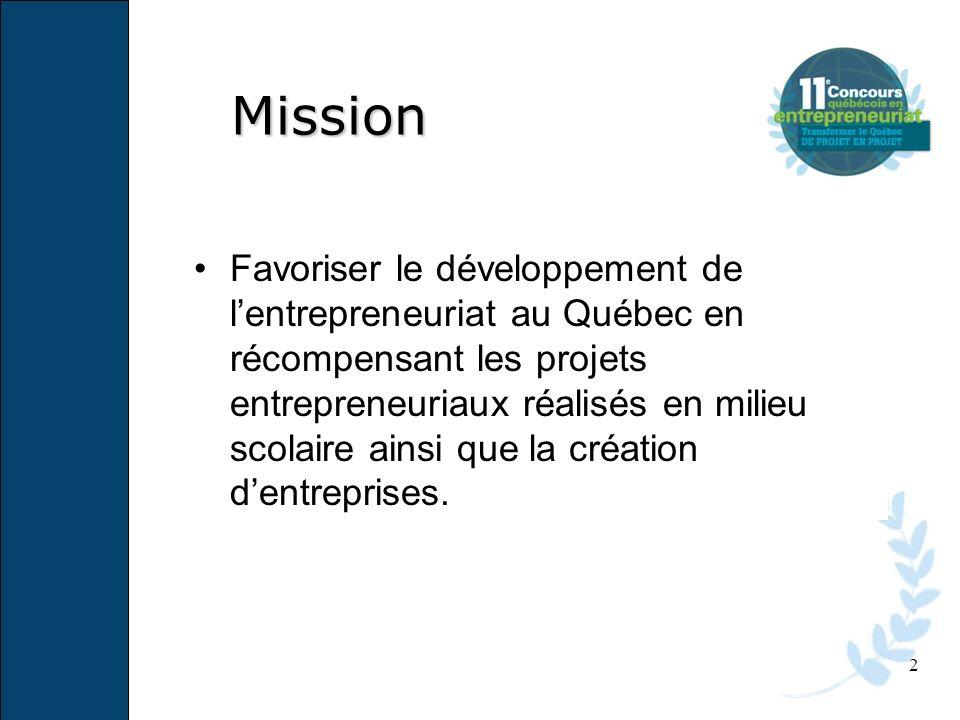 2 Favoriser le développement de lentrepreneuriat au Québec en récompensant les projets entrepreneuriaux réalisés en milieu scolaire ainsi que la créat