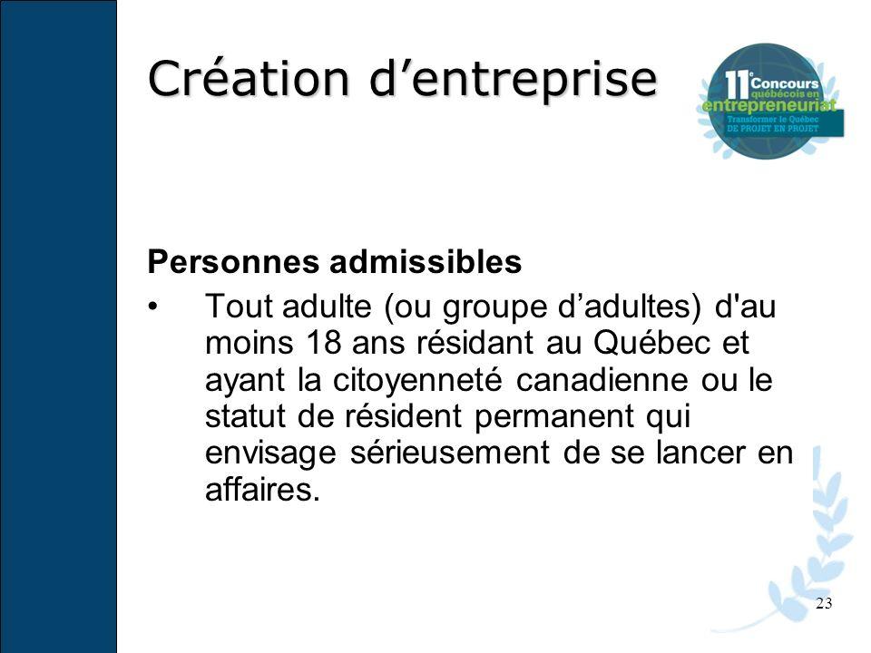 23 Personnes admissibles Tout adulte (ou groupe dadultes) d'au moins 18 ans résidant au Québec et ayant la citoyenneté canadienne ou le statut de rési