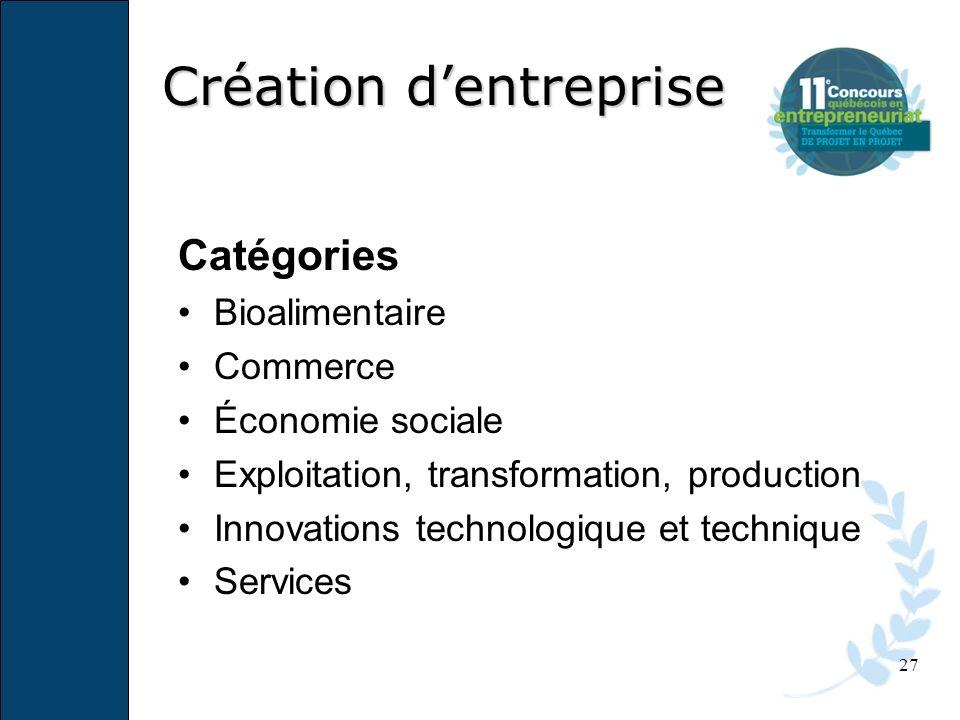 27 Catégories Bioalimentaire Commerce Économie sociale Exploitation, transformation, production Innovations technologique et technique Services Créati