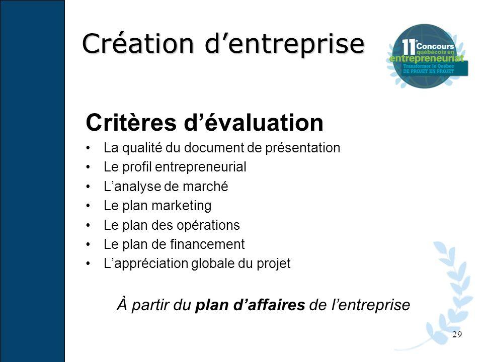 29 Critères dévaluation La qualité du document de présentation Le profil entrepreneurial Lanalyse de marché Le plan marketing Le plan des opérations L