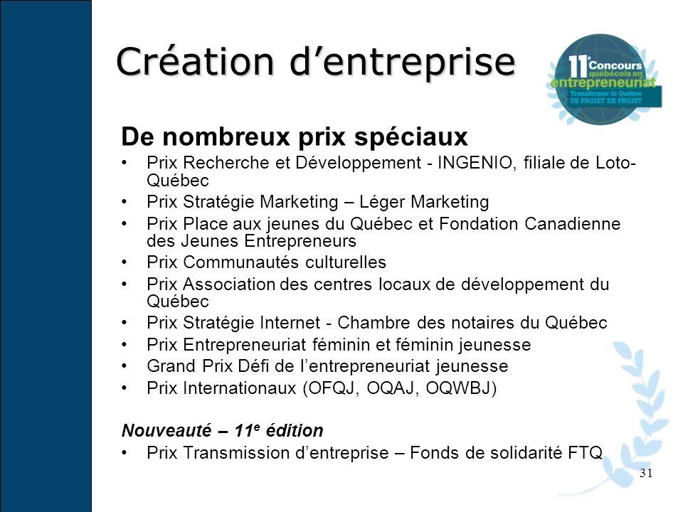 31 De nombreux prix spéciaux Prix Recherche et Développement - INGENIO, filiale de Loto- Québec Prix Stratégie Marketing – Léger Marketing Prix Place