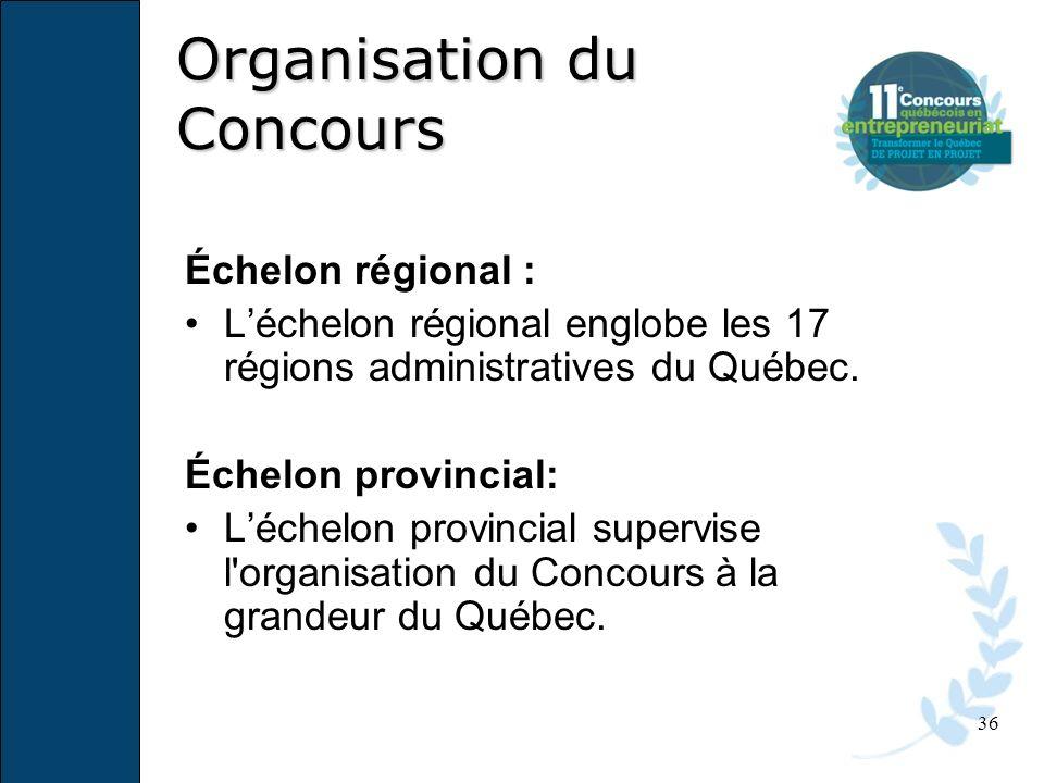 36 Échelon régional : Léchelon régional englobe les 17 régions administratives du Québec. Échelon provincial: Léchelon provincial supervise l'organisa