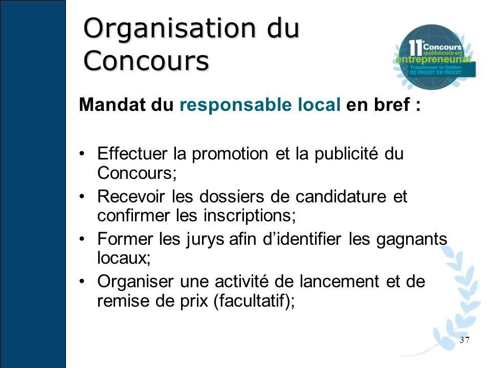 37 Mandat du responsable local en bref : Effectuer la promotion et la publicité du Concours; Recevoir les dossiers de candidature et confirmer les ins