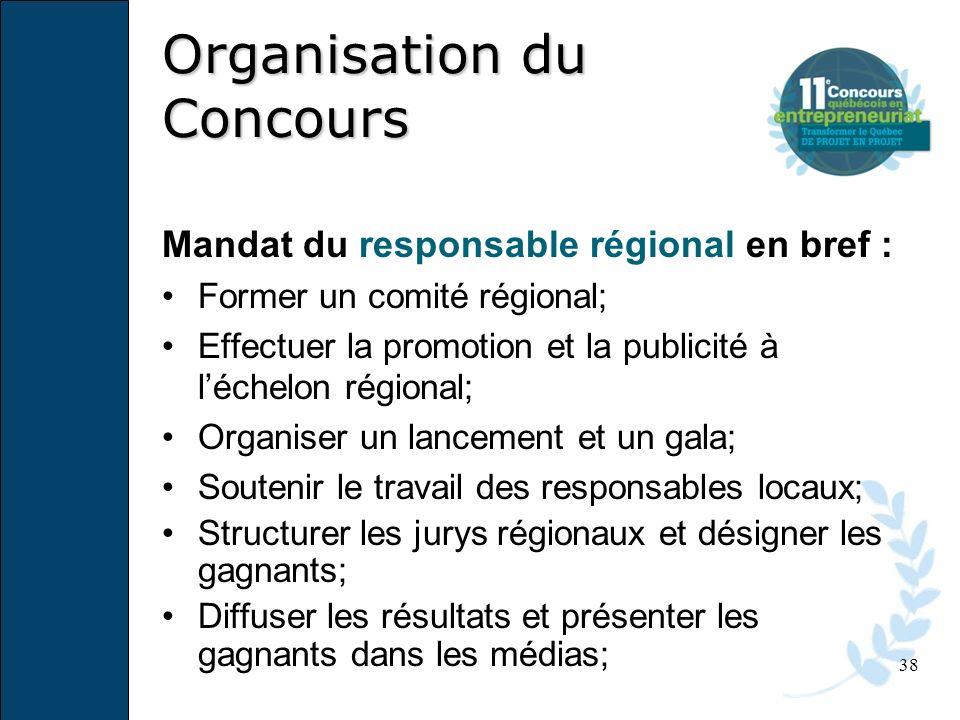 38 Mandat du responsable régional en bref : Former un comité régional; Effectuer la promotion et la publicité à léchelon régional; Organiser un lancem