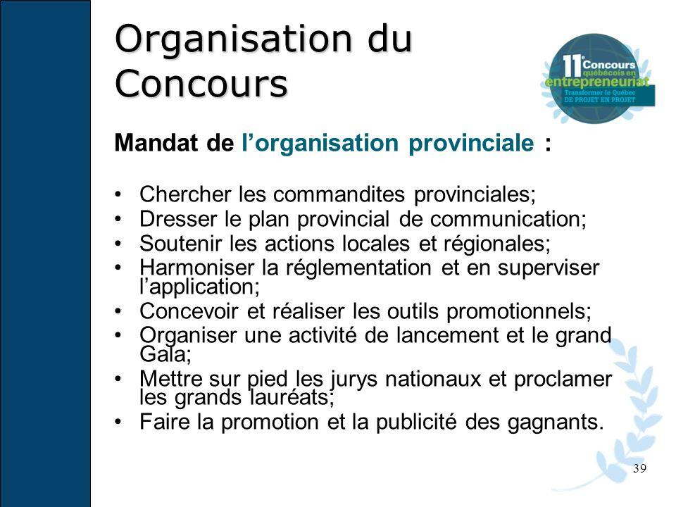 39 Mandat de lorganisation provinciale : Chercher les commandites provinciales; Dresser le plan provincial de communication; Soutenir les actions loca