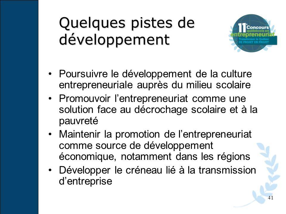 41 Quelques pistes de développement Poursuivre le développement de la culture entrepreneuriale auprès du milieu scolaire Promouvoir lentrepreneuriat c