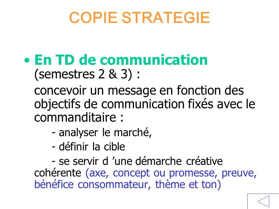 COPIE STRATEGIE En TD de communication (semestres 2 & 3) : concevoir un message en fonction des objectifs de communication fixés avec le commanditaire