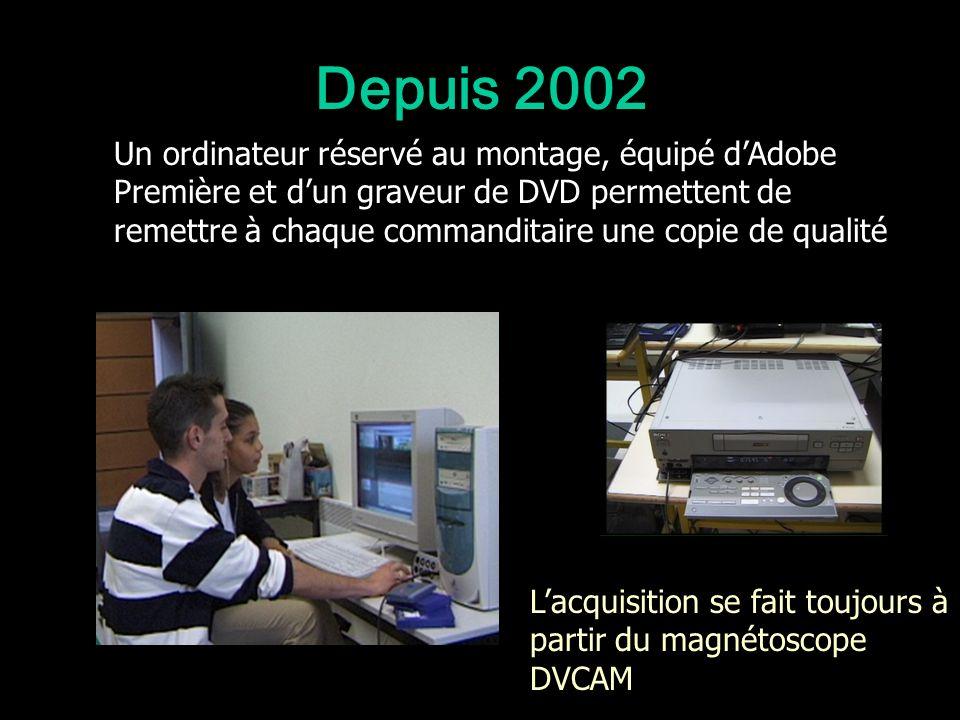 Depuis 2002 Lacquisition se fait toujours à partir du magnétoscope DVCAM Un ordinateur réservé au montage, équipé dAdobe Première et dun graveur de DV