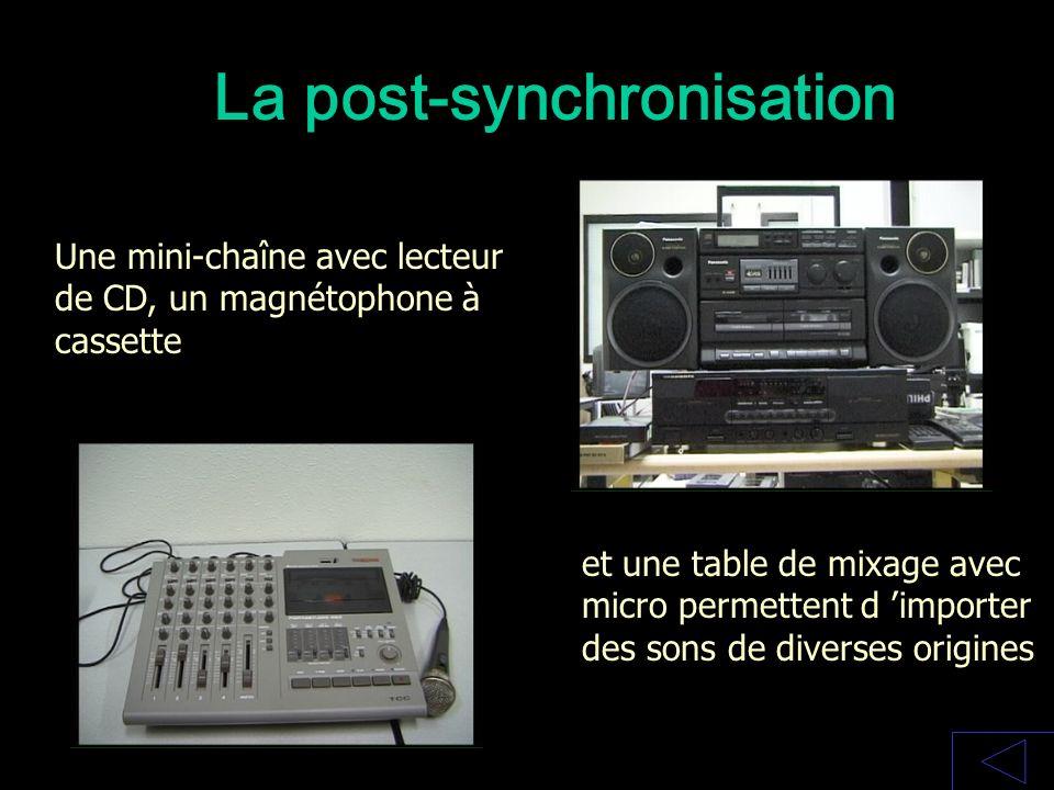 La post-synchronisation Une mini-chaîne avec lecteur de CD, un magnétophone à cassette et une table de mixage avec micro permettent d importer des son