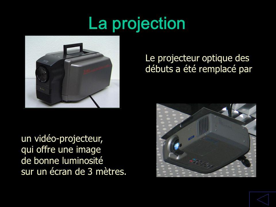 La projection Le projecteur optique des débuts a été remplacé par un vidéo-projecteur, qui offre une image de bonne luminosité sur un écran de 3 mètre