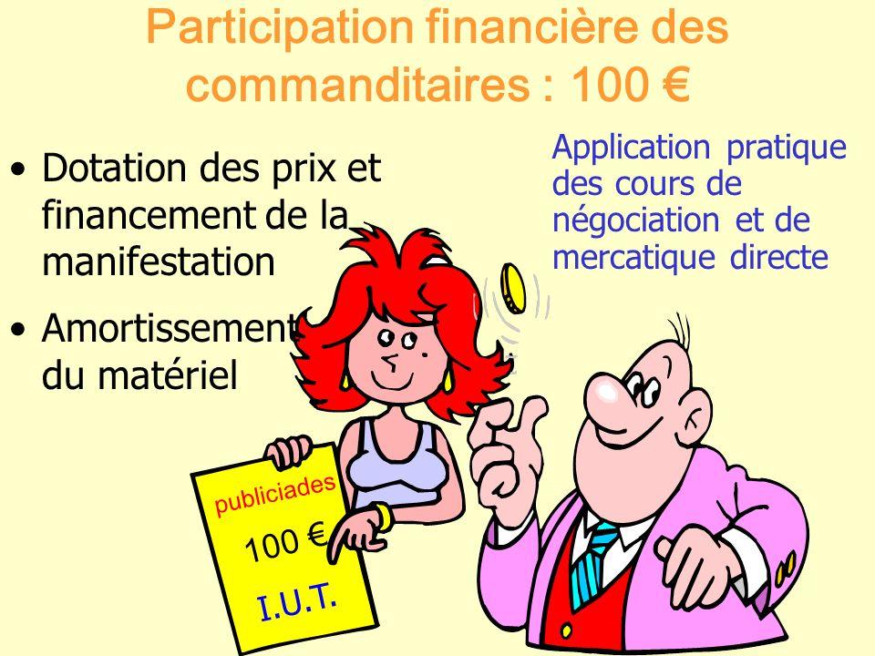 publiciades I.U.T. Participation financière des commanditaires : 100 Application pratique des cours de négociation et de mercatique directe Dotation d