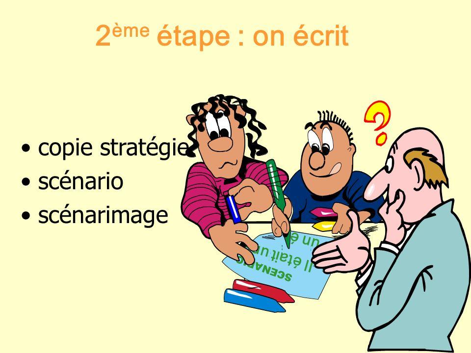 2 ème étape : on écrit copie stratégie scénario scénarimage