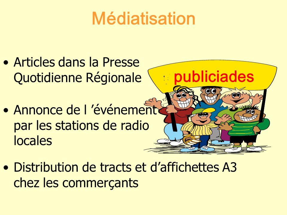Médiatisation Articles dans la Presse Quotidienne Régionale Annonce de l événement par les stations de radio locales Distribution de tracts et daffich