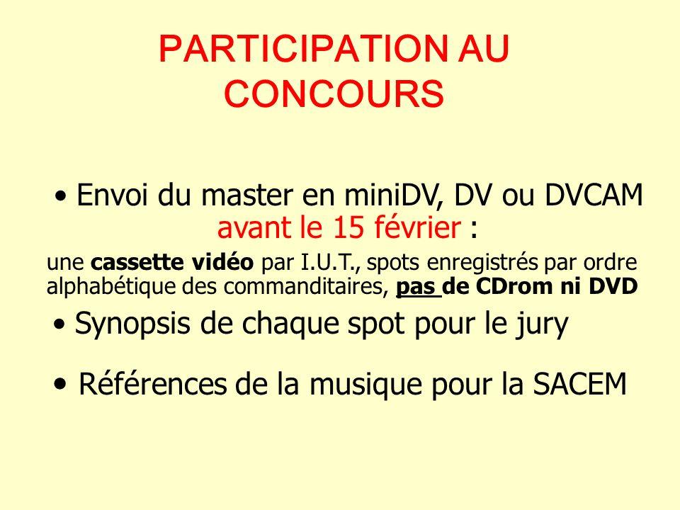 PARTICIPATION AU CONCOURS Synopsis de chaque spot pour le jury Références de la musique pour la SACEM Envoi du master en miniDV, DV ou DVCAM avant le