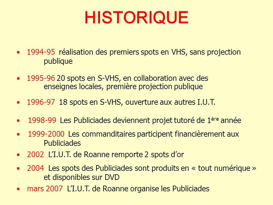 HISTORIQUE 1995-96 20 spots en S-VHS, en collaboration avec des enseignes locales, première projection publique 1994-95 réalisation des premiers spots