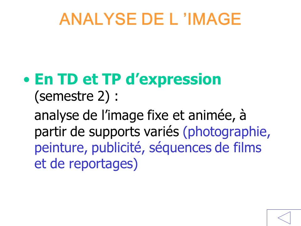 ANALYSE DE L IMAGE En TD et TP dexpression (semestre 2) : analyse de limage fixe et animée, à partir de supports variés (photographie, peinture, publi
