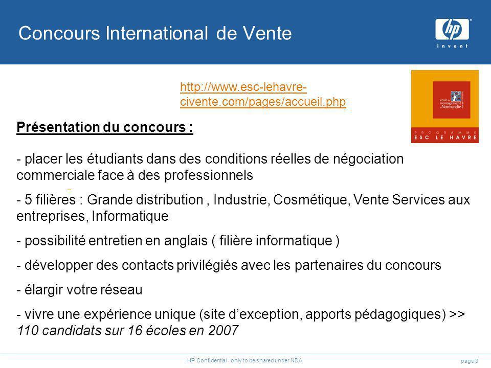 page 3 HP Confidential - only to be shared under NDA Concours International de Vente Présentation du concours : - placer les étudiants dans des condit