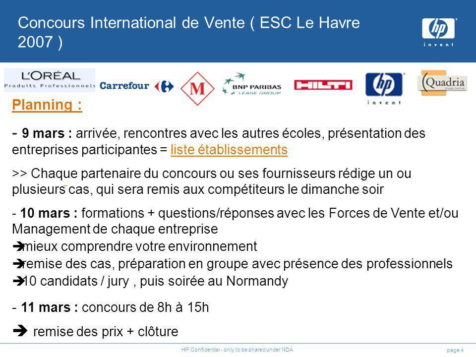 page 4 HP Confidential - only to be shared under NDA Planning : - 9 mars : arrivée, rencontres avec les autres écoles, présentation des entreprises pa
