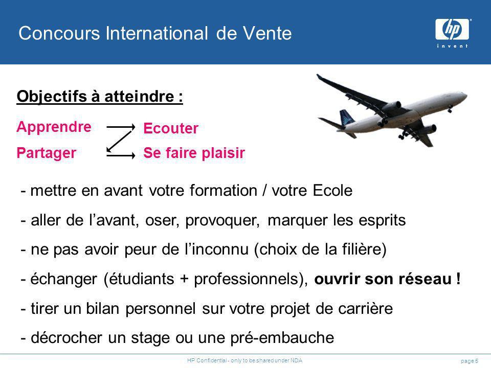 page 5 HP Confidential - only to be shared under NDA - mettre en avant votre formation / votre Ecole - aller de lavant, oser, provoquer, marquer les e