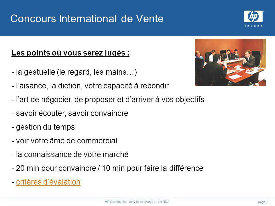 page 7 HP Confidential - only to be shared under NDA Les points où vous serez jugés : - la gestuelle (le regard, les mains…) - laisance, la diction, v