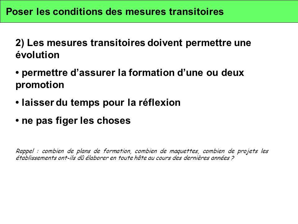 Poser les conditions des mesures transitoires 2) Les mesures transitoires doivent permettre une évolution permettre dassurer la formation dune ou deux