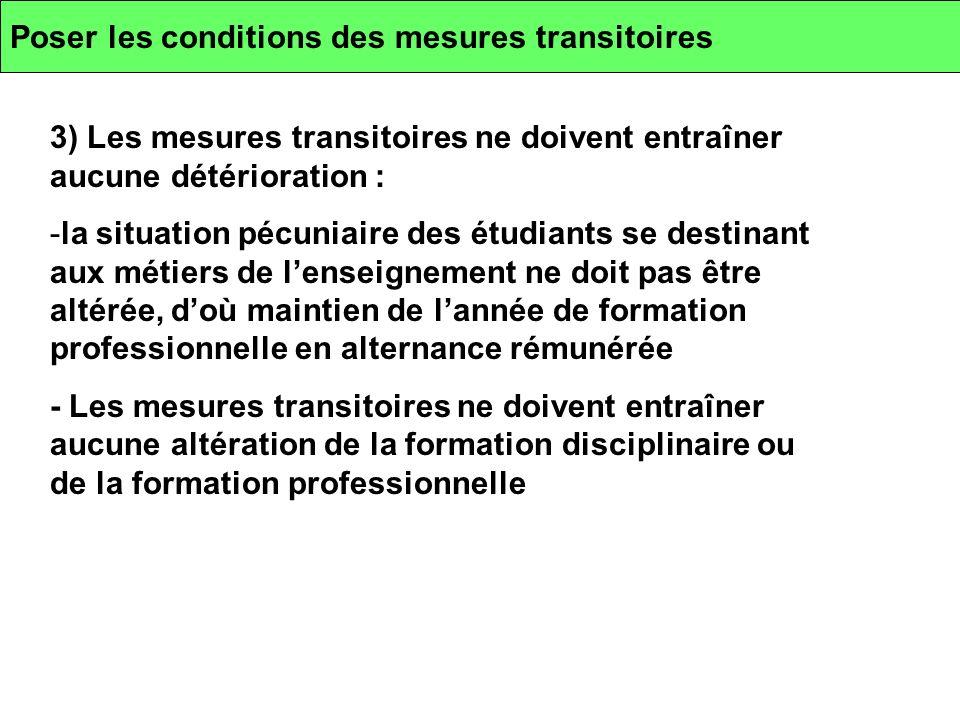 Poser les conditions des mesures transitoires 3) Les mesures transitoires ne doivent entraîner aucune détérioration : -la situation pécuniaire des étu