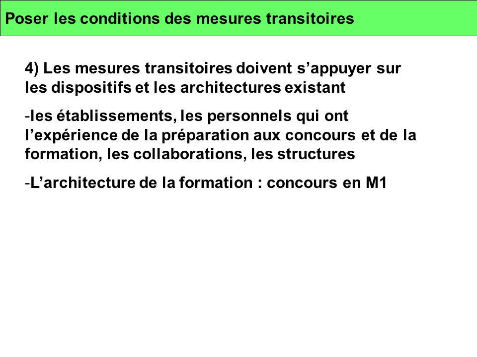 Poser les conditions des mesures transitoires 4) Les mesures transitoires doivent sappuyer sur les dispositifs et les architectures existant -les étab