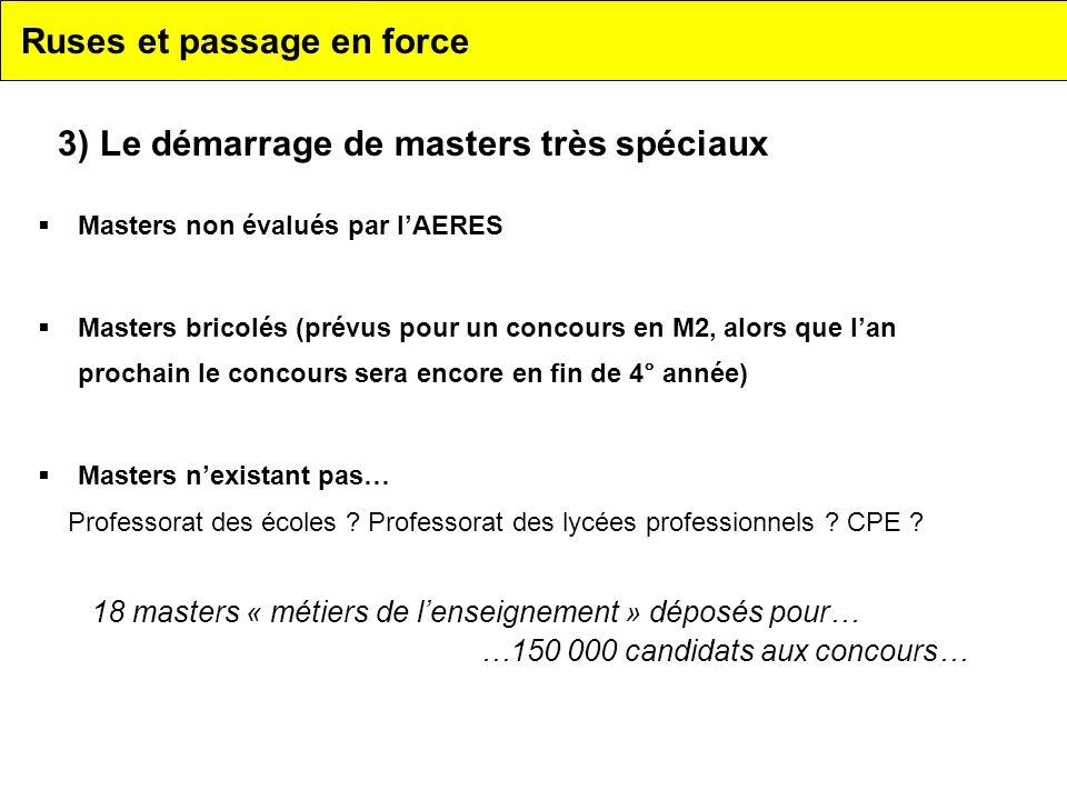 Ruses et passage en force Masters non évalués par lAERES Masters bricolés (prévus pour un concours en M2, alors que lan prochain le concours sera enco