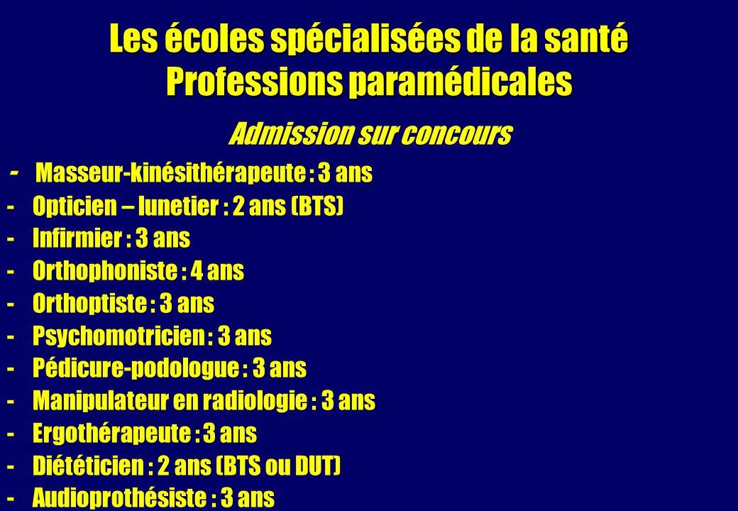 Les écoles spécialisées de la santé Professions paramédicales Admission sur concours - Masseur-kinésithérapeute : 3 ans -Opticien – lunetier : 2 ans (BTS) -Infirmier : 3 ans -Orthophoniste : 4 ans -Orthoptiste : 3 ans -Psychomotricien : 3 ans -Pédicure-podologue : 3 ans -Manipulateur en radiologie : 3 ans -Ergothérapeute : 3 ans -Diététicien : 2 ans (BTS ou DUT) -Audioprothésiste : 3 ans