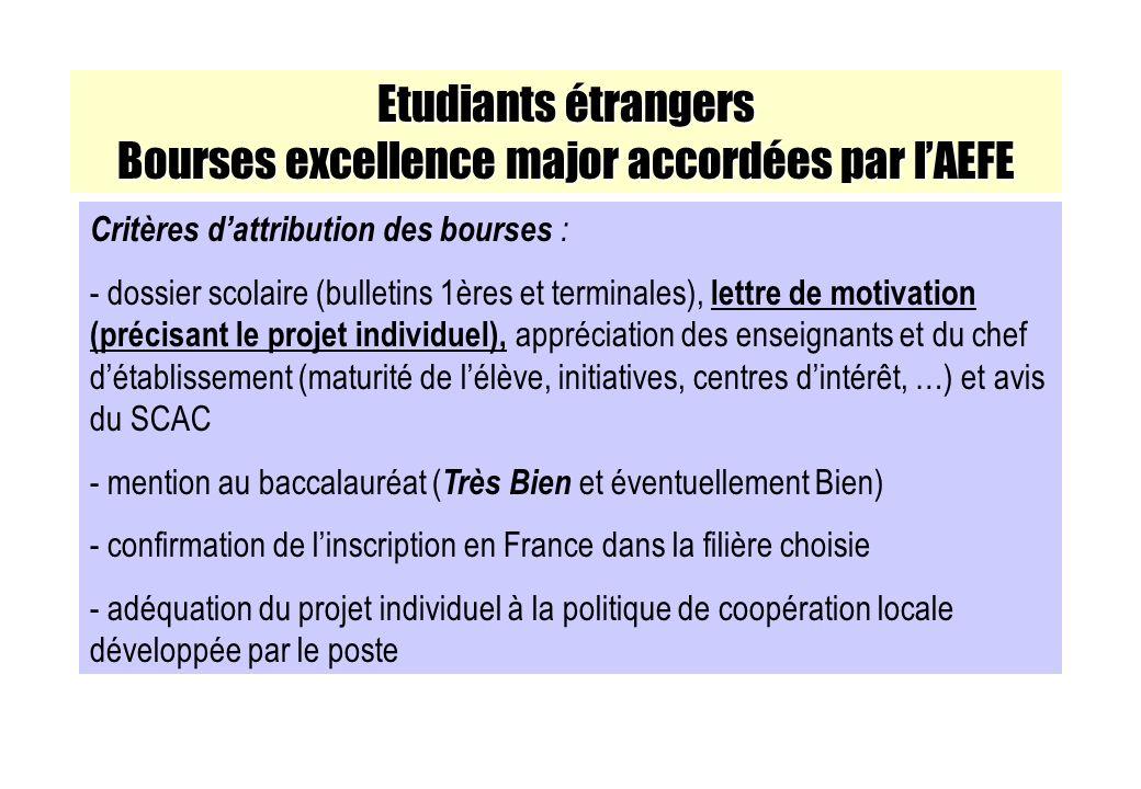 Etudiants étrangers Bourses excellence major accordées par lAEFE Critères dattribution des bourses : - dossier scolaire (bulletins 1ères et terminales