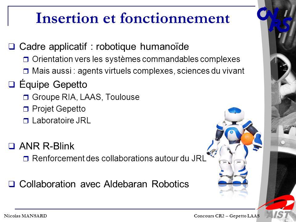 Nicolas MANSARD Concours CR2 – Gepetto LAAS Insertion et fonctionnement Cadre applicatif : robotique humanoïde Orientation vers les systèmes commandab