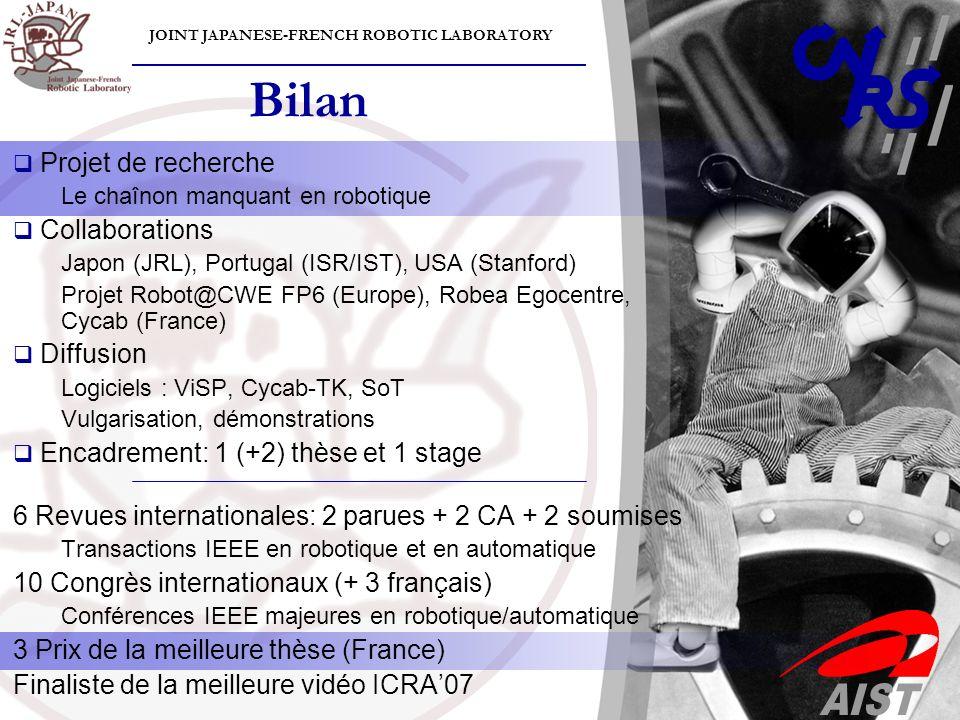 JOINT JAPANESE-FRENCH ROBOTIC LABORATORY Bilan Projet de recherche Le chaînon manquant en robotique Collaborations Japon (JRL), Portugal (ISR/IST), US