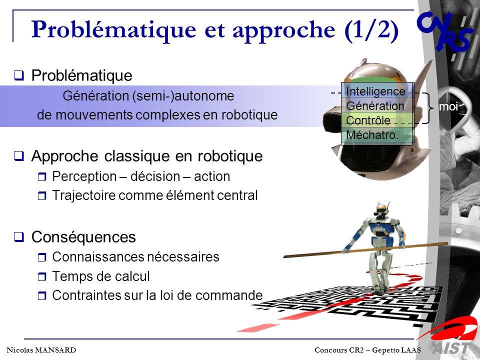 Nicolas MANSARD Concours CR2 – Gepetto LAAS Problématique et approche (1/2) Problématique Génération (semi-)autonome de mouvements complexes en roboti