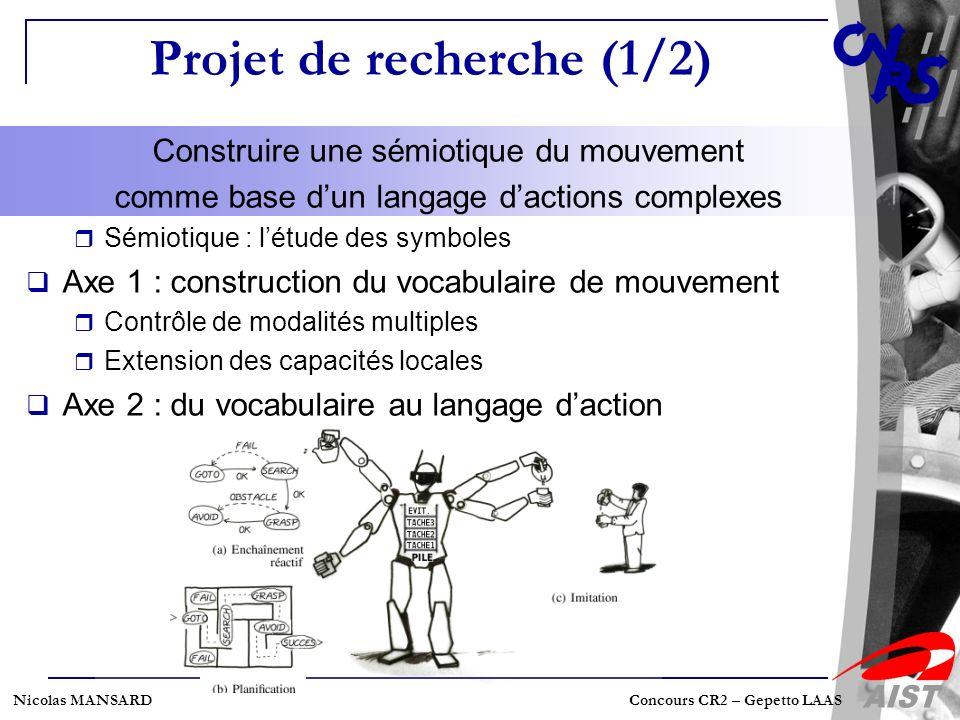 Nicolas MANSARD Concours CR2 – Gepetto LAAS Projet de recherche (1/2) Construire une sémiotique du mouvement comme base dun langage dactions complexes