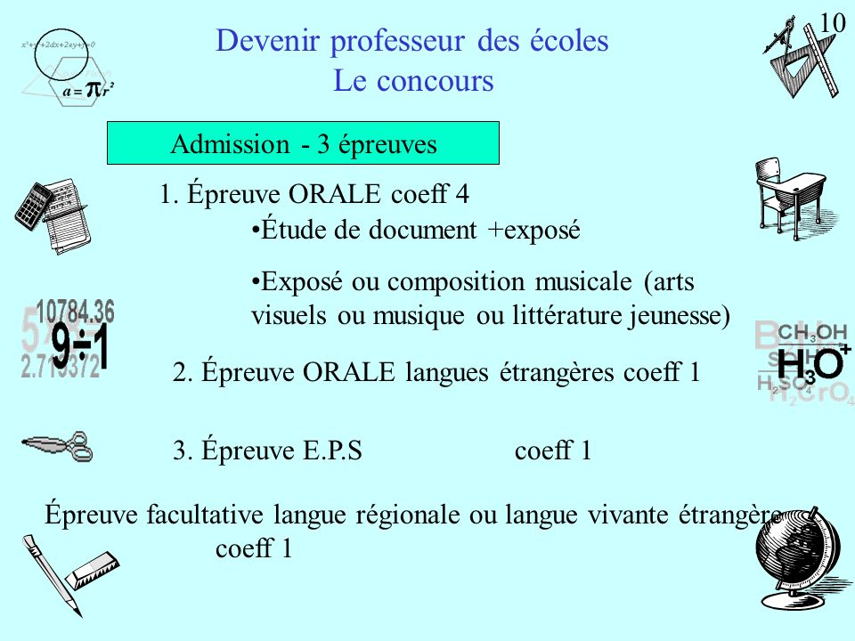 Devenir professeur des écoles Le concours Admissibilité - 3 épreuves Français4 h-coeff 3 Mathématiques 3 h-coeff 3 Histoire/géographie et Sciences expérimentales/technologie 3 h-coeff 2 9