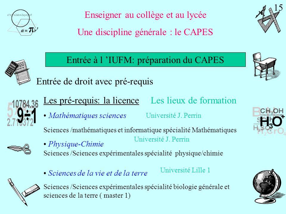 Licence 123 Pré-requis 1ère année IUFM Préparation du CAPES Concours de recrutement CAPES 2ème année IUFM Statut étudiant Professeur stagiaire Bien qu