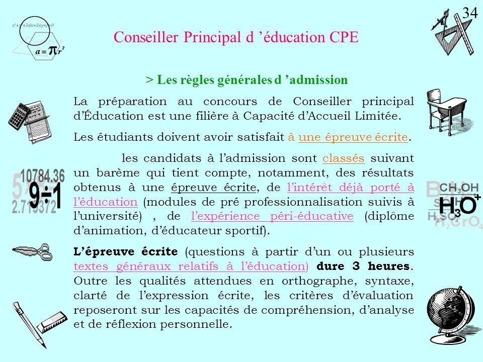 Épreuves écrites d'admissibilité Durée Coeff. 1°) Dissertation portant sur une ou plusieurs questions relatives à l'éducation. 4 h 3 Dissertation 2°)